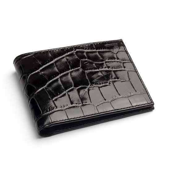 Billfold Coin Wallet in Deep Shine Black Croc & Cobalt Suede from Aspinal of London