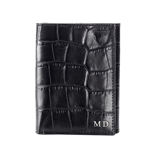 Trifold Wallet in Deep Shine Black Croc from Aspinal of London