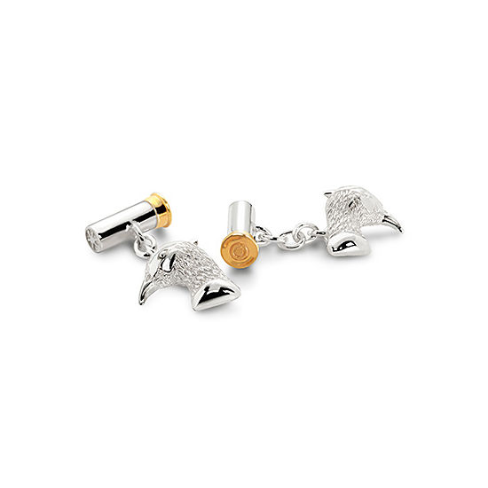Sterling Silver & Gold Plated Pheasant & Cartridge Cufflinks from Aspinal of London