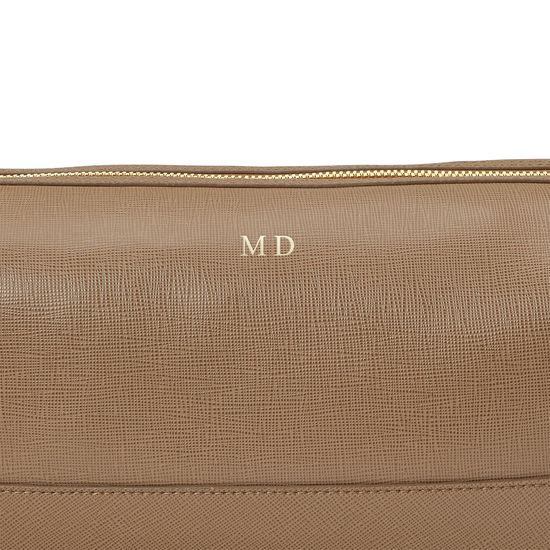Men's Leather Wash Bag in Camel Saffiano from Aspinal of London
