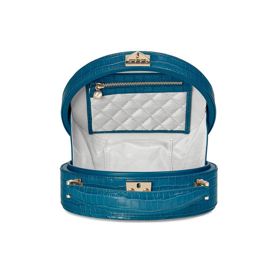 Hat Box in Deep Shine Topaz Small Croc from Aspinal of London