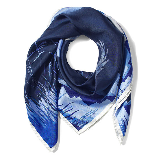 Owl in the City Silk Scarf in Navy & Cobalt Blue from Aspinal of London