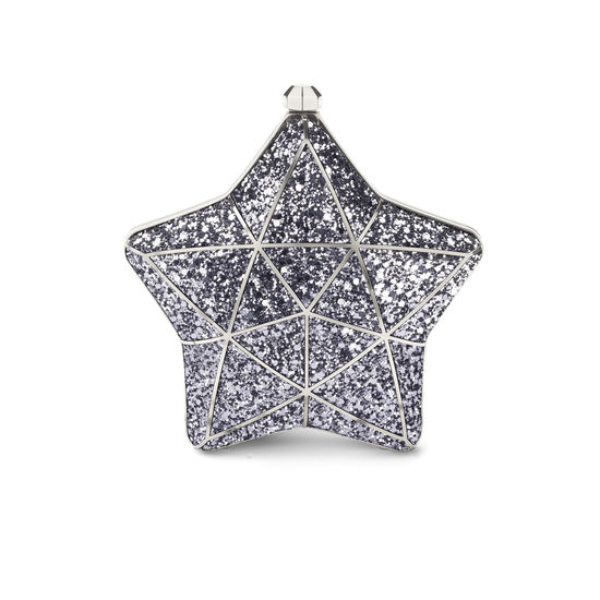 Star Clutch in Silver Glitter from Aspinal of London