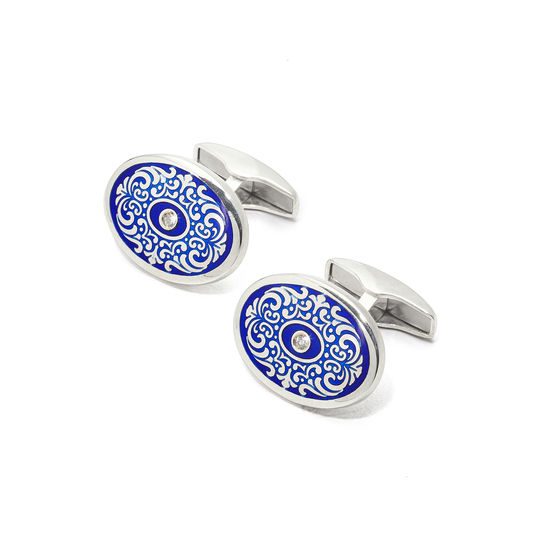 Sterling Silver Engraved Enamel & Diamond Cufflinks in Dark Blue from Aspinal of London