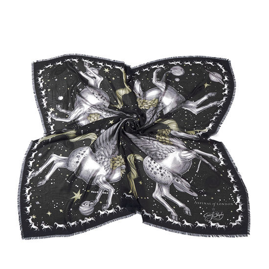 Pegasus Cashmere Blend Scarf in Monochrome from Aspinal of London