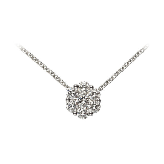 Monaco 0.5ct. Diamond Cluster Pendant Necklace from Aspinal of London