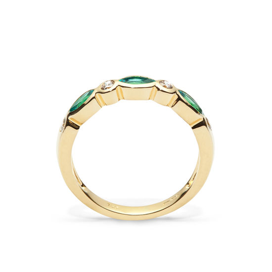 Selene 18ct Gold Marquise Emerald & Diamond Ring from Aspinal of London