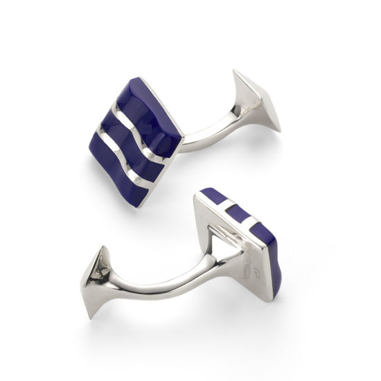 Wave Sterling Silver & Lapis Cufflinks from Aspinal of London