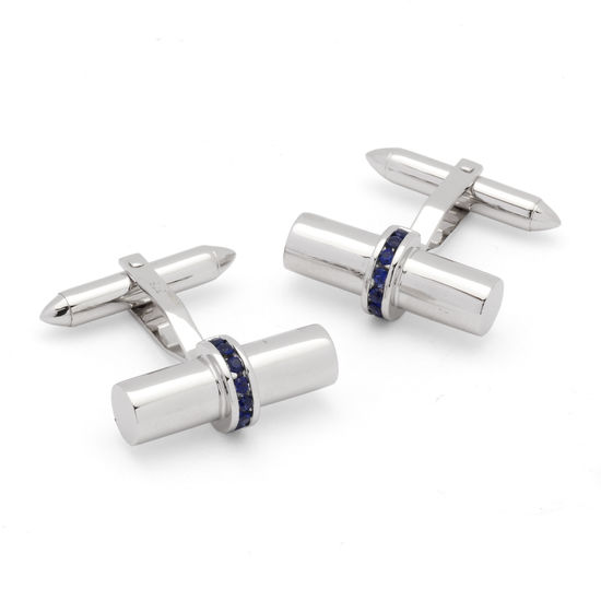 Silky Barrel Cufflinks Gemset with Cluster Sapphires in 9ct White Gold from Aspinal of London