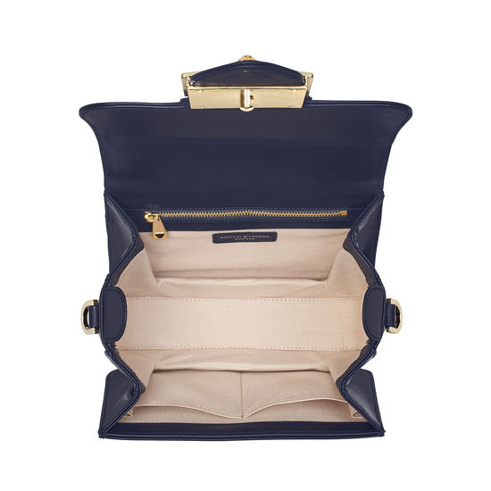 Small Lion Lansdowne Bag in Smooth Navy from Aspinal of London