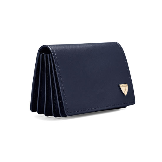 Accordion Zipped Credit Card Holder in Smooth Navy from Aspinal of London