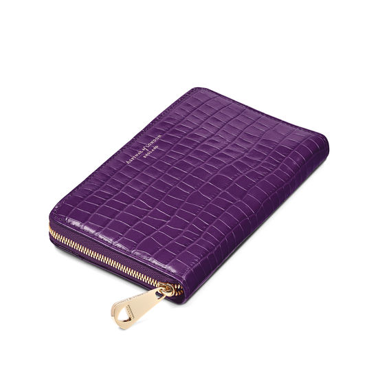 Midi Continental Clutch Zip Wallet in Deep Shine Amethyst Small Croc from Aspinal of London