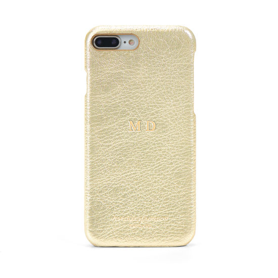 iPhone 7 Plus Leather Cover in Pale Gold Pebble from Aspinal of London