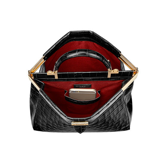 Small Florence Frame Bag in Black Croc from Aspinal of London