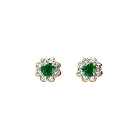 Debutante Emerald & Diamond Stud Earrings from Aspinal of London