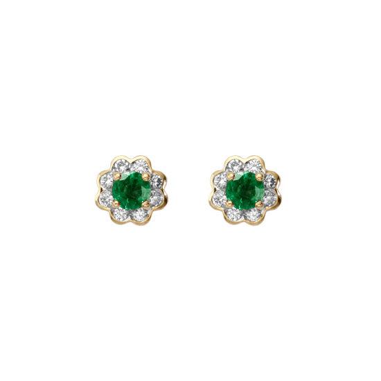 Debutante Emerald & Diamond Stud Earrings from Aspinal of London