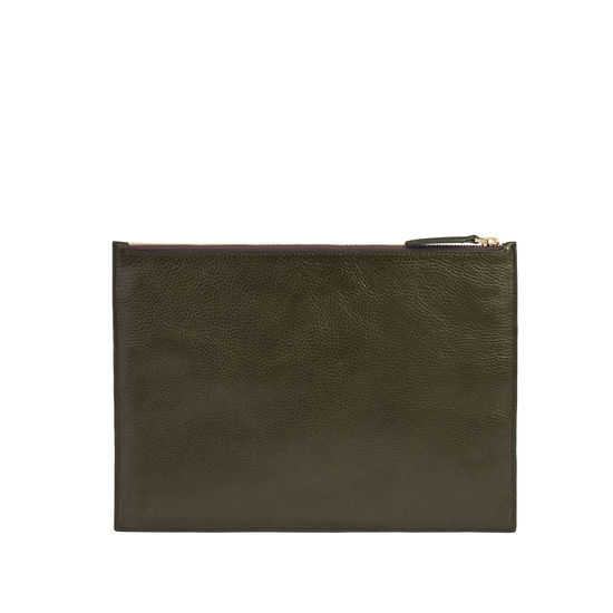 Mount Street Flat Pouch in Moss Green Pebble from Aspinal of London