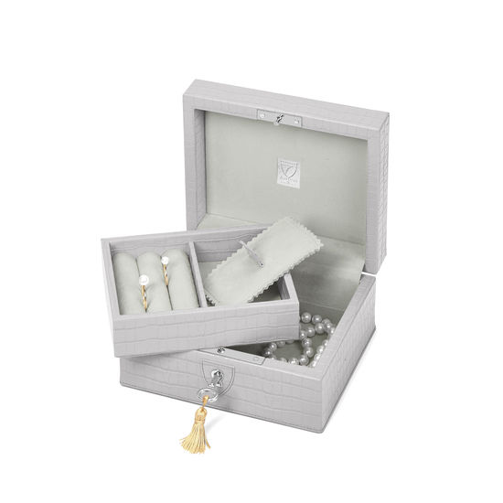 Bijou Jewellery Box in Deep Shine Dove Grey Small Croc from Aspinal of London