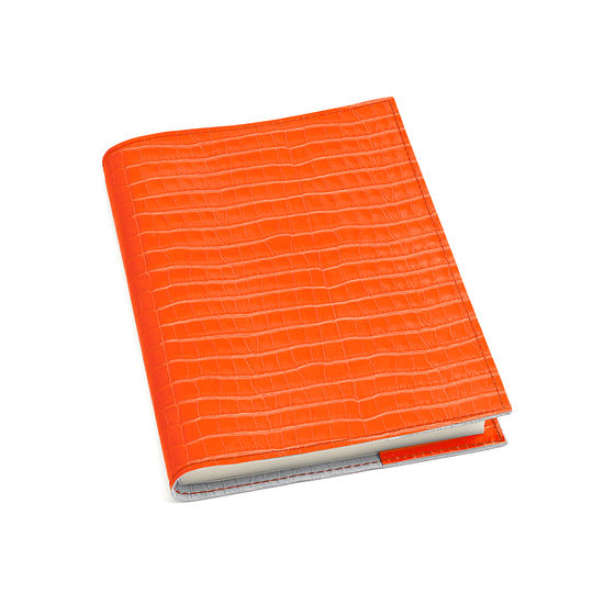 A5 Refillable Leather Journal in Deep Shine Amber Small Croc from Aspinal of London
