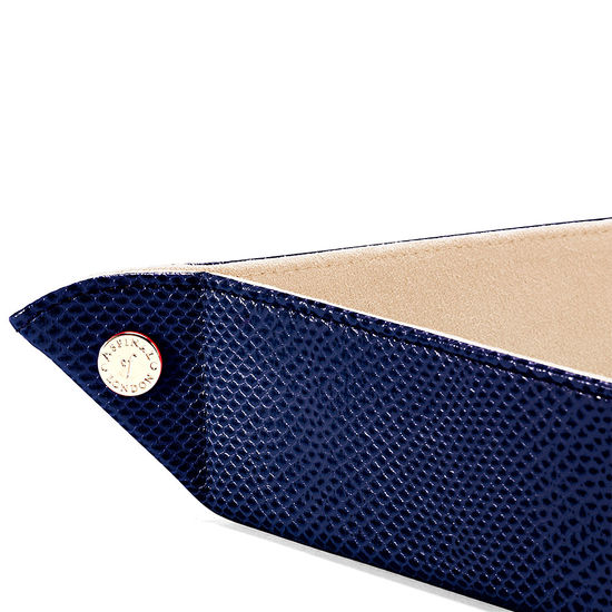 Large Tidy Tray in Midnight Blue Lizard & Cream Suede from Aspinal of London