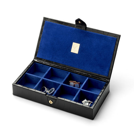 Men's Cufflink Box in Deep Shine Black Croc & Cobalt Blue Suede from Aspinal of London