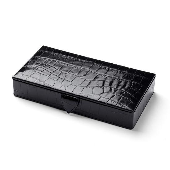 Men's Cufflink Box in Deep Shine Black Croc & Cobalt Blue Suede from Aspinal of London