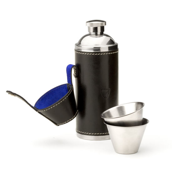 Hunter 8oz Leather Hip Flask in Smooth Black & Cobalt Suede from Aspinal of London
