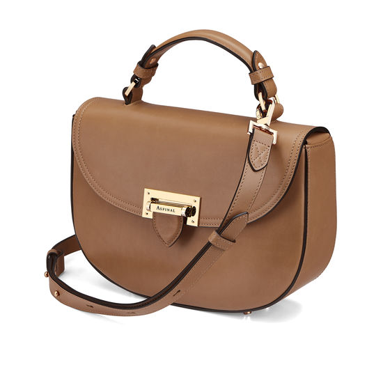 Letterbox Saddle Bag in Smooth Natural Tan from Aspinal of London