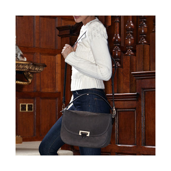 Slouchy Saddle Bag in Black Nubuck from Aspinal of London