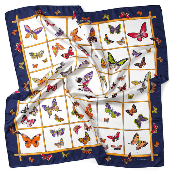 Multi Coloured Butterflies Silk Scarf in Midnight Blue from Aspinal of London