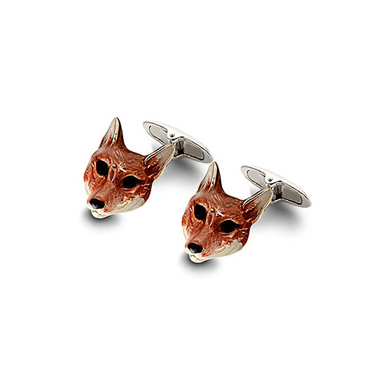 Sterling Silver & Enamel Fox Head Cufflinks from Aspinal of London