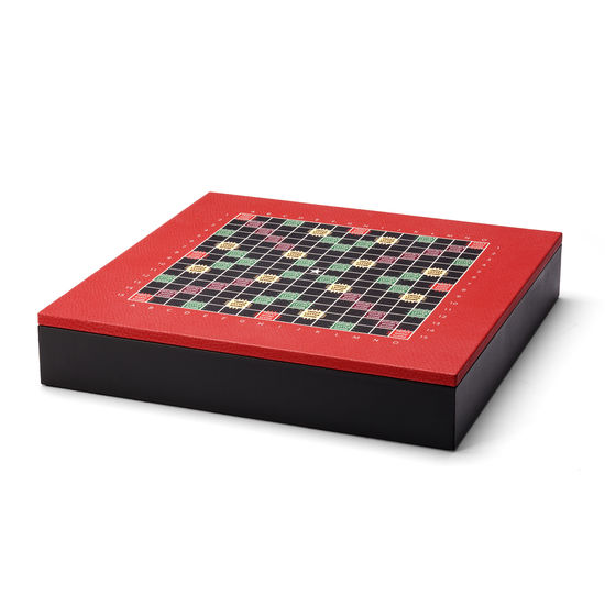 Scrabble Set in Red Jewel Calf from Aspinal of London