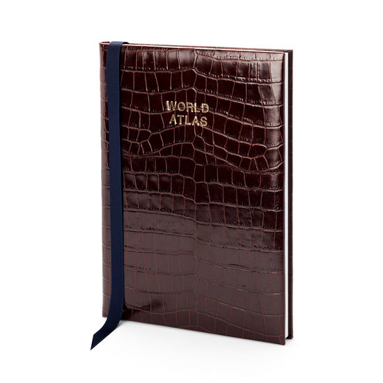 World Atlas in Deep Shine Amazon Brown Croc from Aspinal of London