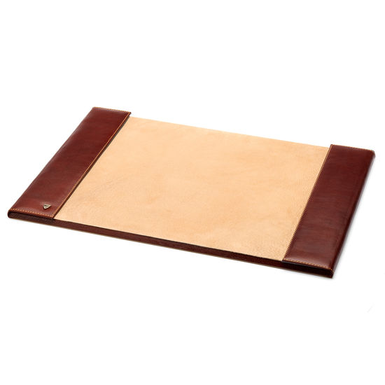 Desk Blotter in Smooth Cognac & Stone Suede from Aspinal of London