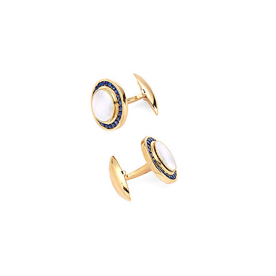 Round Mother of Pearl Cufflinks Gemset with Cluster Sapphire in 9ct Yellow Gold from Aspinal of London