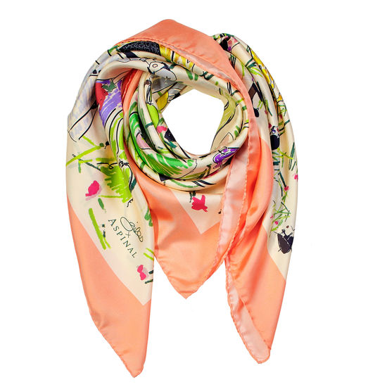 Giles x Aspinal (Ladies Silk Scarf - Coral) from Aspinal of London