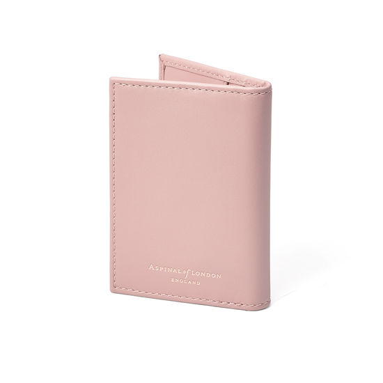 Double Fold Credit Card Case in Smooth Peony from Aspinal of London
