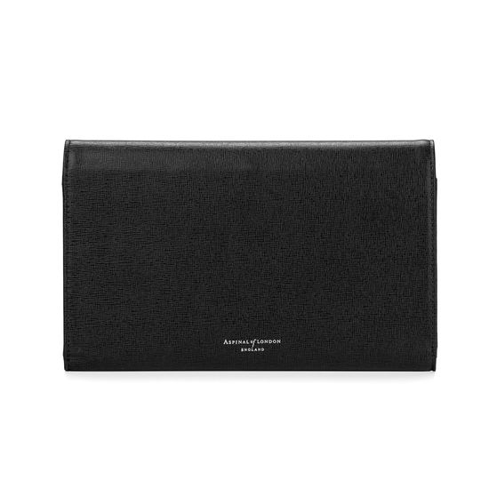 Classic Travel Wallet in Black Saffiano & Black Suede from Aspinal of London