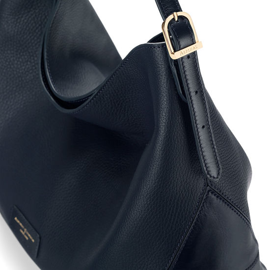 Aspinal Hobo Bag in Navy Pebble & Smooth Navy from Aspinal of London