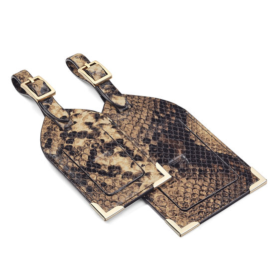 Set of 2 Luggage Tags in Tan Snake Print from Aspinal of London