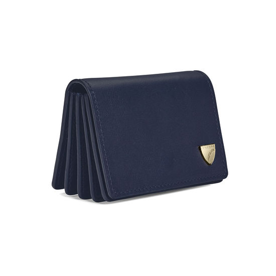 Accordion Credit Card Holder in Smooth Blue Moon from Aspinal of London