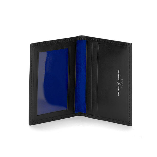 ID & Travel Card Case in Smooth Black & Cobalt Suede from Aspinal of London