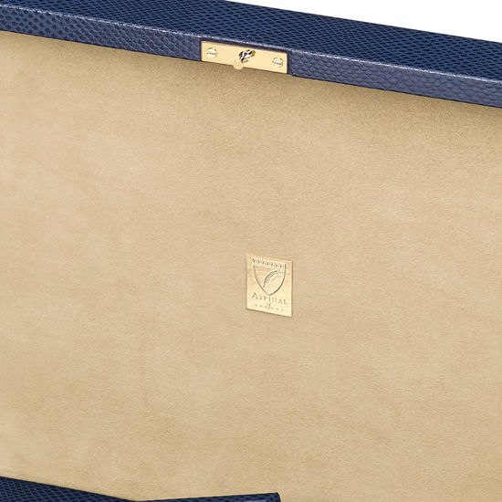 Grand Luxe Jewellery Case in Midnight Blue Lizard from Aspinal of London