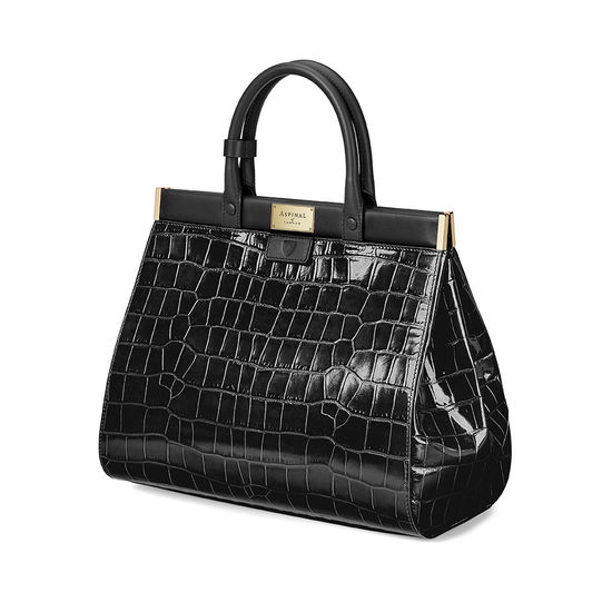 Large Florence Snap Bag in Deep Shine Black Croc & Smooth Black from Aspinal of London