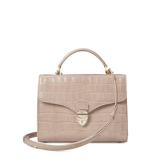 Mayfair Bag in Deep Shine Soft Taupe Croc with Stripe Strap from Aspinal of London