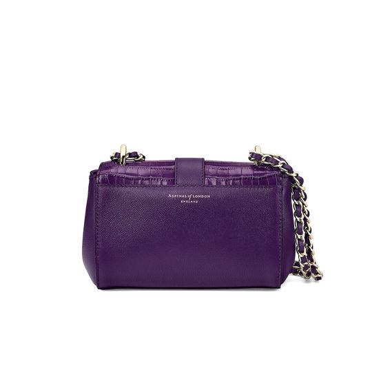 Micro Lottie Bag in Deep Shine Amethyst Small Croc from Aspinal of London