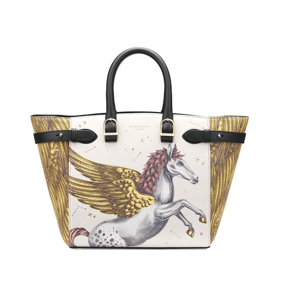 Midi Marylebone Tote in Pegasus Ivory Print from Aspinal of London