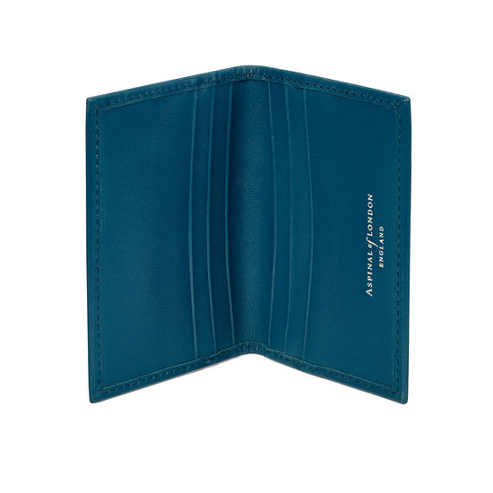 Double Fold Credit Card Case in Smooth Topaz from Aspinal of London
