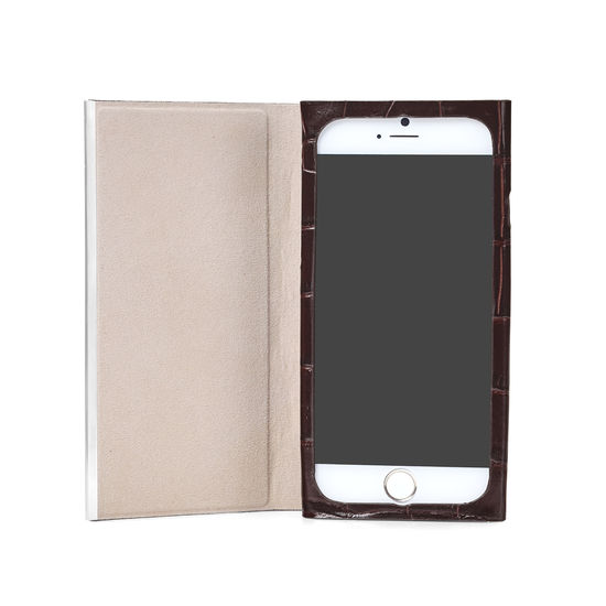 huge selection of ab93b 40cf8 iPhone 7 Plus Leather Book Case in Brown Croc | Aspinal