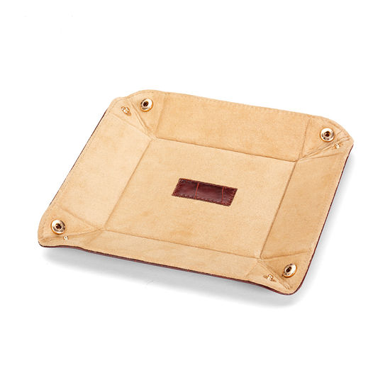 Mini Tidy Tray in Deep Shine Amazon Brown Croc & Stone Suede from Aspinal of London